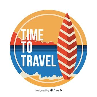 Плоский дизайн винтажная туристическая этикетка