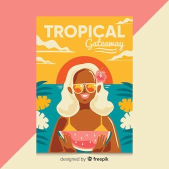 Плоский винтажный туристический плакат с девушкой