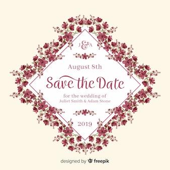 花の結婚式の招待状水彩テンプレート