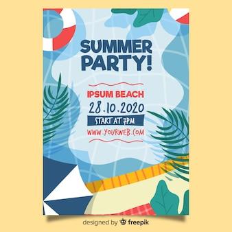 手描き夏パーティーポスターテンプレート