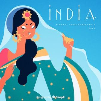 手描きの独立記念日インド