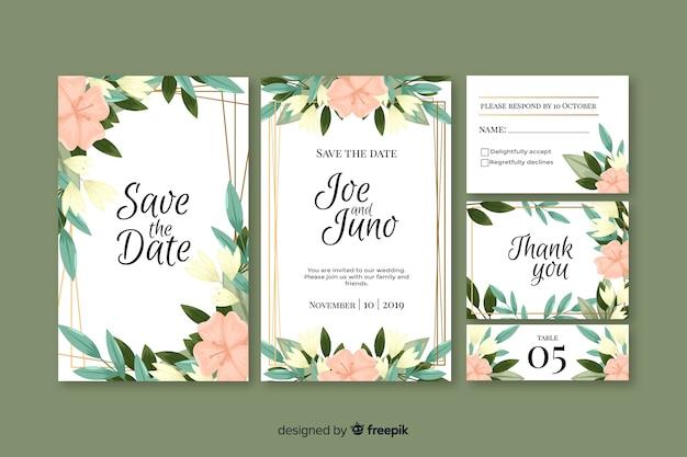 花の結婚式の文房具のテンプレートコレクション