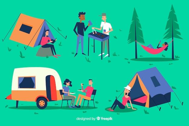 キャンプの手描きスタイルのコレクションの人々