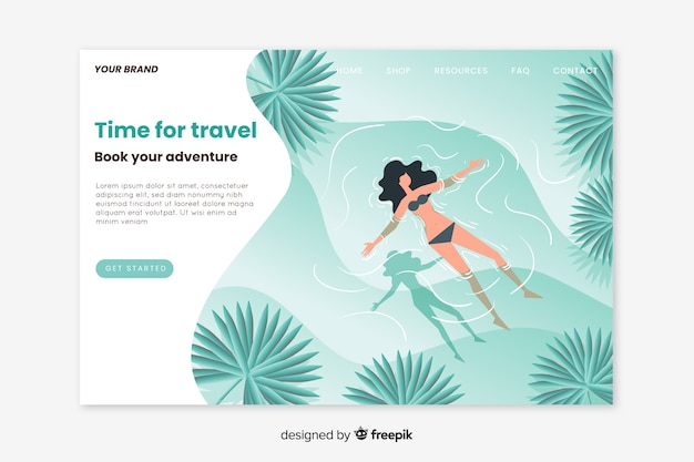 旅行のランディングページフラットデザイン