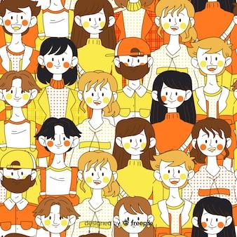 手描きの若い人たちのパターンの背景