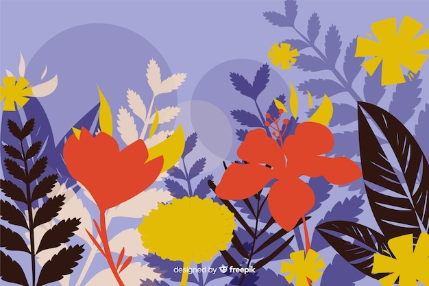 平らなカラフルな花のシルエットの背景