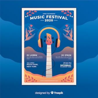 グラデーション音楽祭ポスターテンプレート