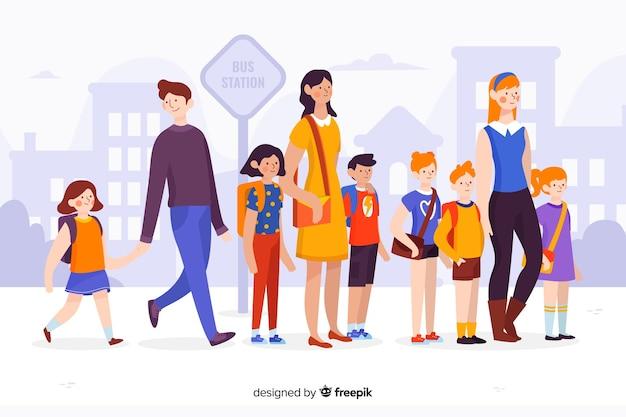 Плоские школьники с родителями