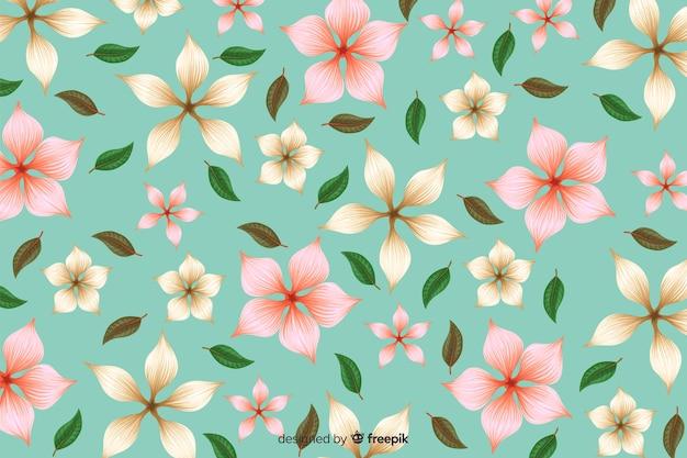 Плоский тропический цветочный узор фона