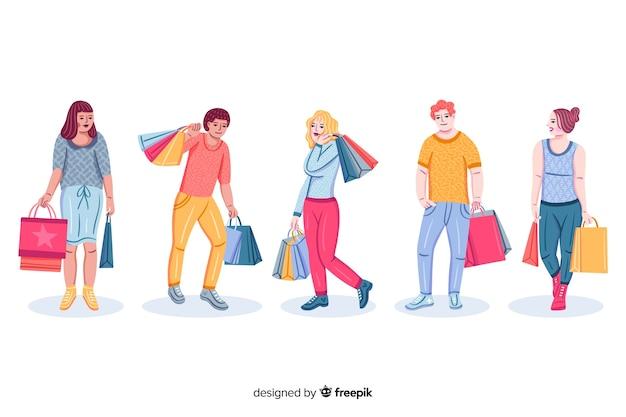 買い物袋のコレクションを運ぶ人々