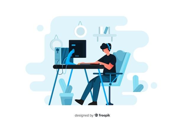 Геймер играет с компьютером