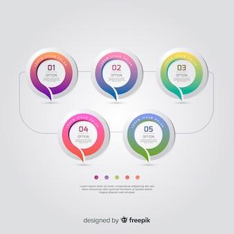 Красочный инфографики шаблон плоский дизайн