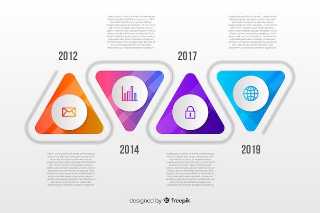 Красочные инфографика хронология плоский дизайн