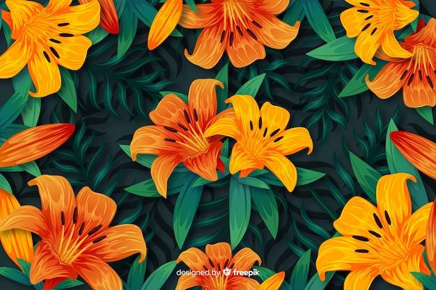 Естественный фон с красочными экзотическими цветами