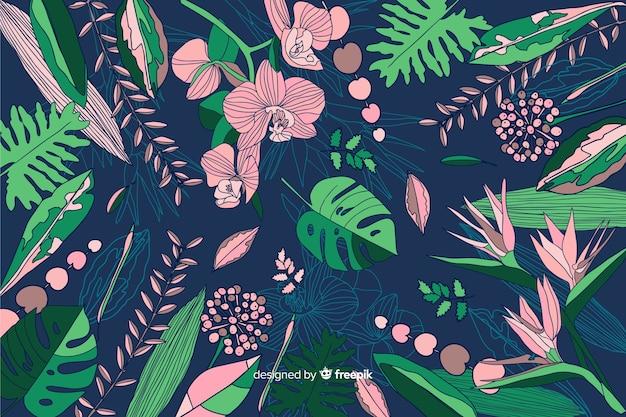 熱帯の花と自然の背景