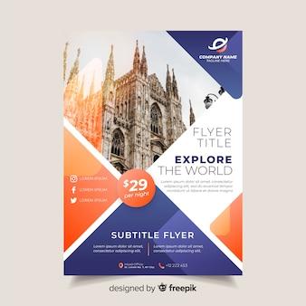 Шаблон туристической брошюры с фотографией