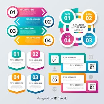 カラフルなインフォグラフィック要素フラットデザイン