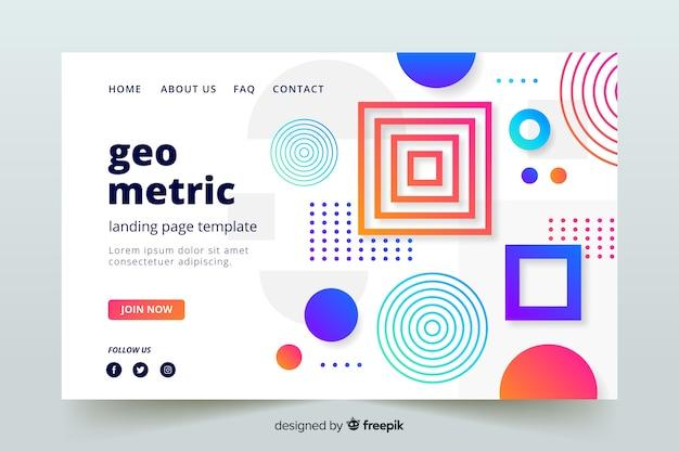 抽象的な幾何学的形状のランディングページのテンプレート