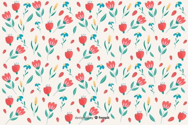 Плоский дизайн цветочный узор фона