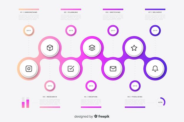 カラフルなタイムラインインフォグラフィック要素