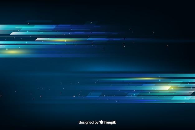 輝く光の動きの未来的な背景