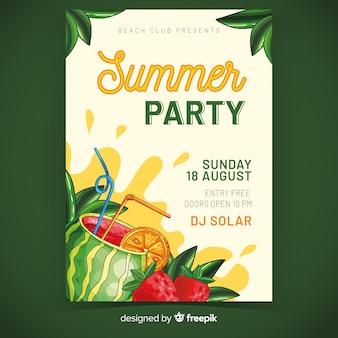 Шаблон плаката летней вечеринки с холодным напитком