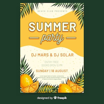 Летняя вечеринка плакат шаблон рисованной