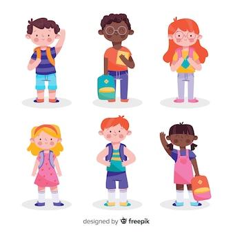 手描きの子供たちが学校に戻る