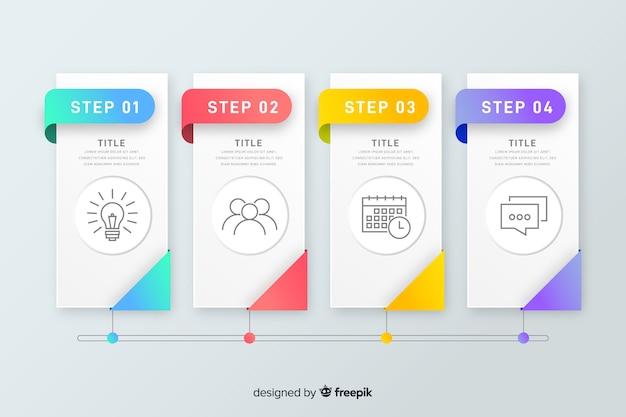 Красочные инфографики шаги плоский дизайн