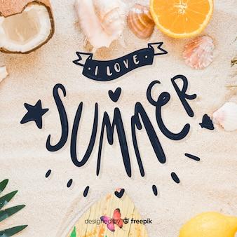 写真と夏のレタリングの背景