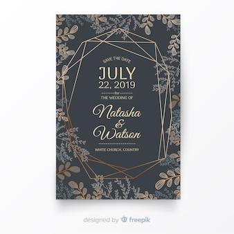 手描きの結婚式の招待状のテンプレート