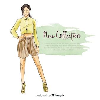 Нарисованная рукой иллюстрация женщины моды