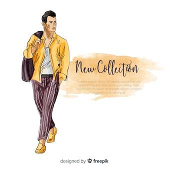 Нарисованная рукой иллюстрация человека моды