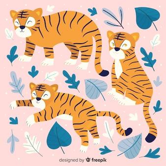 Коллекция рисованной милый тигр
