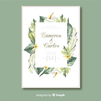 熱帯の葉の結婚式の招待状のテンプレート水彩風
