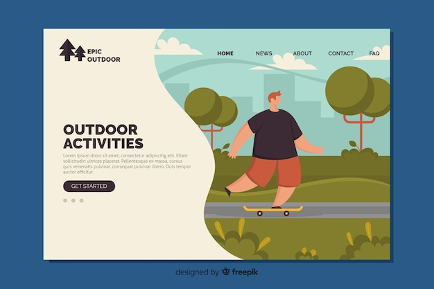 野外活動のランディングページテンプレート