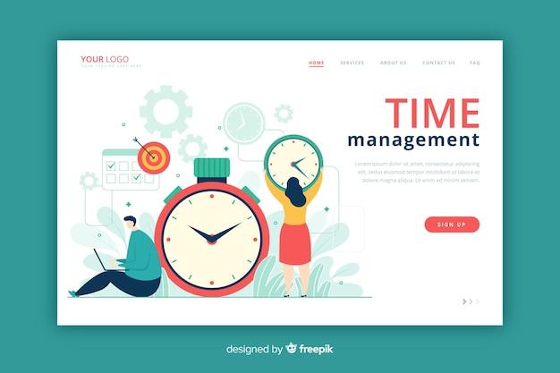 時間管理ランディングページフラットスタイル