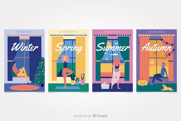 手描きの季節のポスターセット