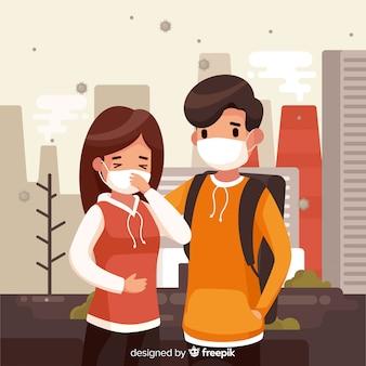 市内の若いカップルと汚染の概念