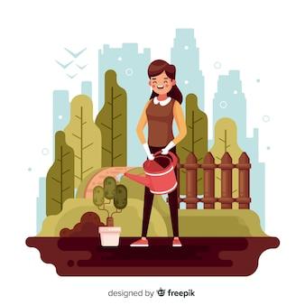 植物の世話をする人々
