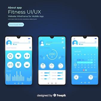 Фитнес мобильное приложение инфографики плоский дизайн