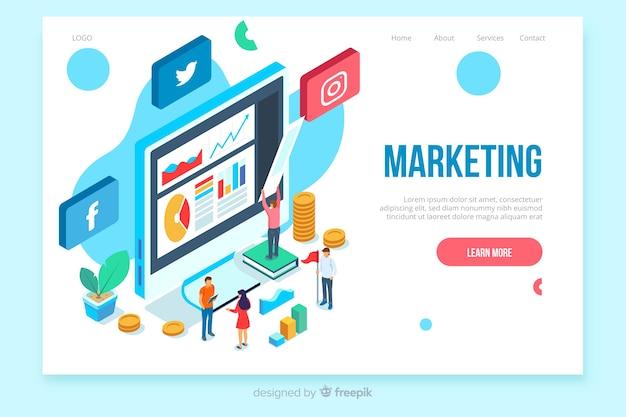 Шаблон целевой страницы изометрического маркетинга