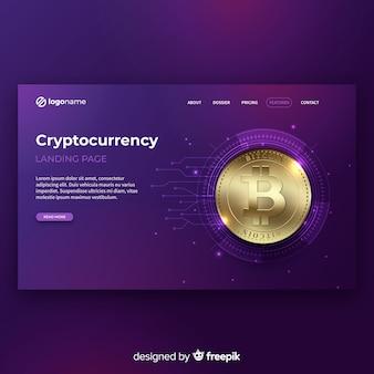 Реалистичная криптовалюта шаблон целевой страницы