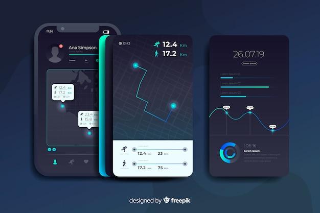 実行中のモバイルアプリインフォグラフィックフラットデザイン