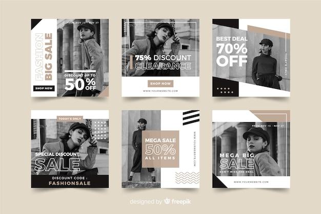 ファッションセールスソーシャルメディアバナーコレクション