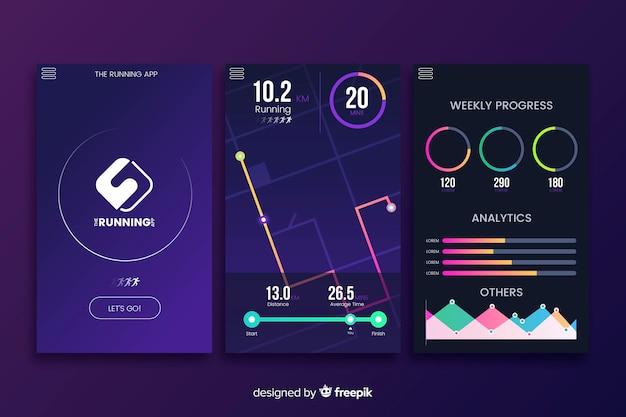 Запуск мобильного приложения инфографики плоский дизайн