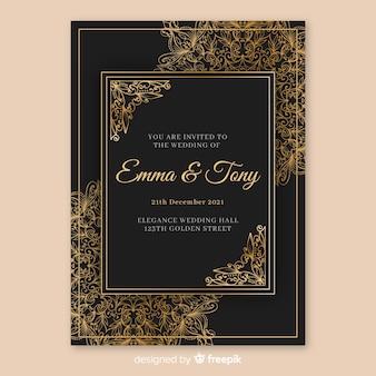 Элегантный свадебный шаблон приглашения с мандалой
