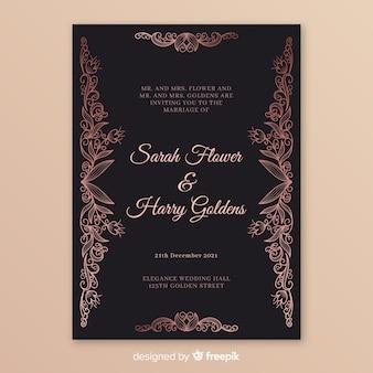 マンダラとエレガントな結婚式の招待状のテンプレート