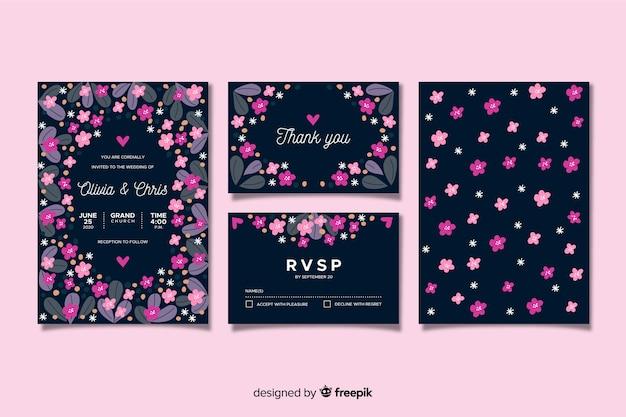 平らな花の結婚式の文房具の型板