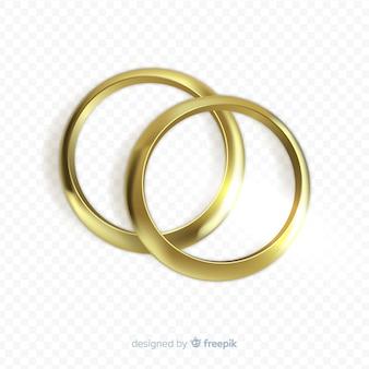 Золотые обручальные кольца реалистичного стиля